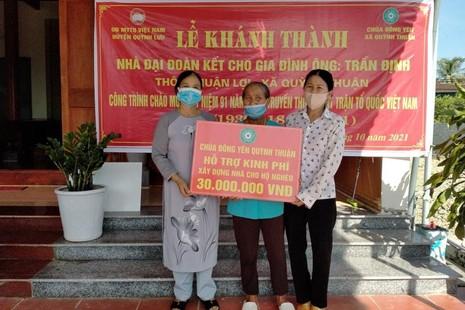 Chùa Đông Yên bàn giao nhà Đại đoàn kết đến hộ nghèo