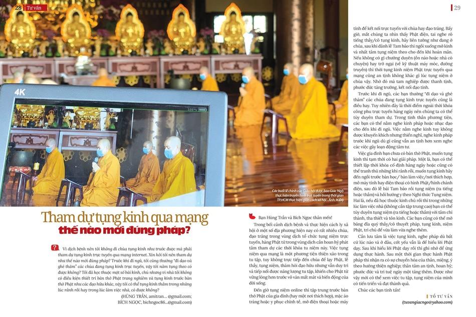 Thời kinh Dược Sư tại chùa Huê Nghiêm được báo Giác Ngộ thực hiện truyền hình trực tuyến trong thời gian giãn cách xã hội - Ảnh: H.Đ/ BGN