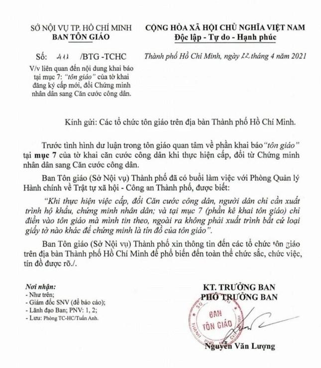 TP.HCM: Người dân không cần xuất trình bất kỳ loại giấy tờ chứng minh tôn giáo khi làm CCCD ảnh 1