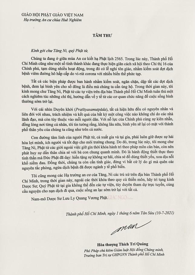 Tâm thư của Trưởng lão Hòa thượng Thích Trí Quảng ảnh 1