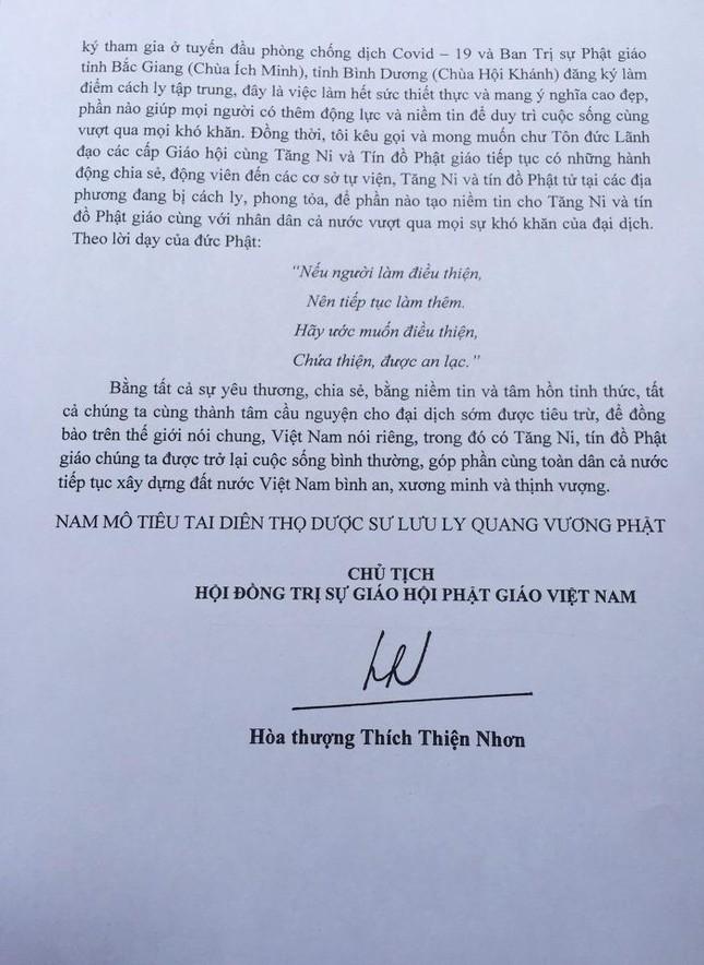 Tâm thư của Hòa thượng Thích Thiện Nhơn, Chủ tịch Hội đồng Trị sự GHPGVN ảnh 2