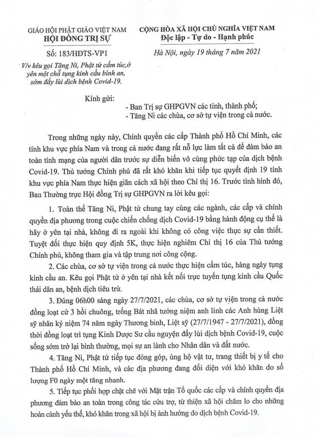 Trung ương Giáo hội kêu gọi Tăng Ni cấm túc, Phật tử ở yên một chỗ tụng kinh Dược Sư cầu bình an ảnh 1