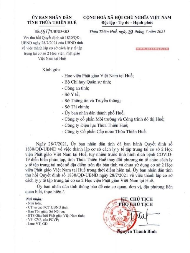 Tỉnh Thừa Thiên Huế thu hồi quyết định, tạm chưa sử dụng Học viện Phật giáo làm nơi cách ly y tế ảnh 3