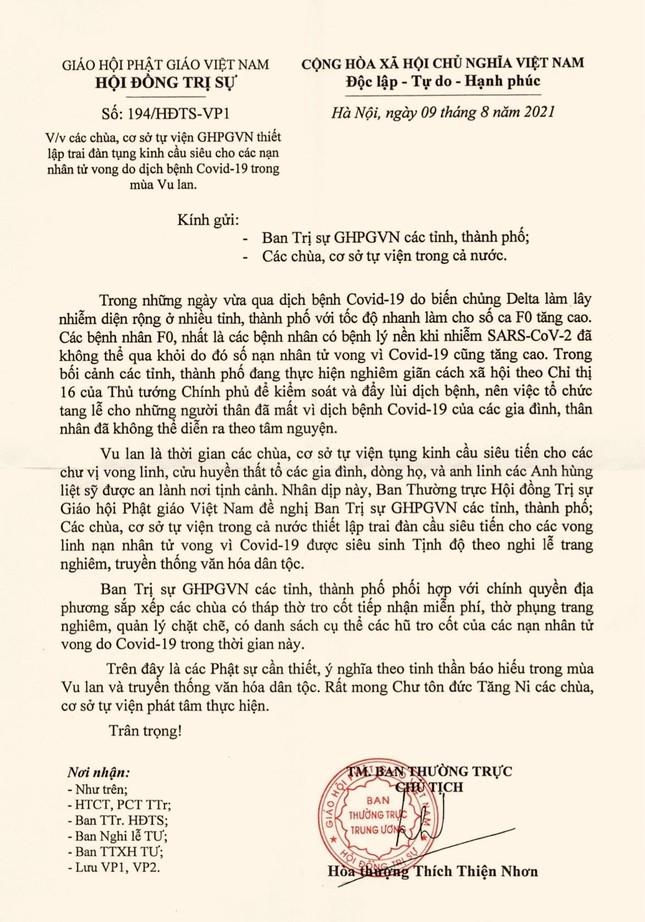 Trung ương GHPGVN yêu cầu các chùa thiết lễ cầu siêu cho nạn nhân tử vong do Covid-19 ảnh 1