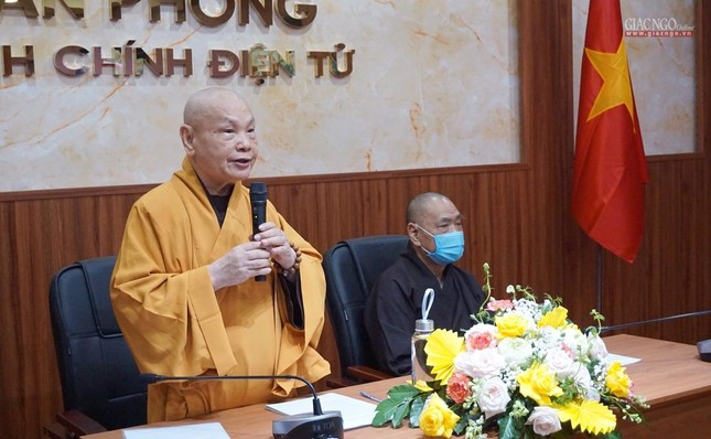 Lần đầu tiên Trung ương GHPGVN họp trực tuyến giữa 2 Trung tâm Điều hành điện tử Hà Nội, TP.HCM ảnh 1