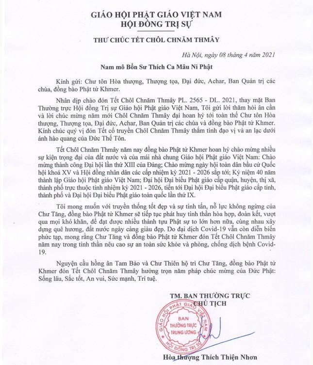 Hòa thượng Chủ tịch Hội đồng Trị sự chúc Tết Chôl Chnăm Thmây ảnh 1
