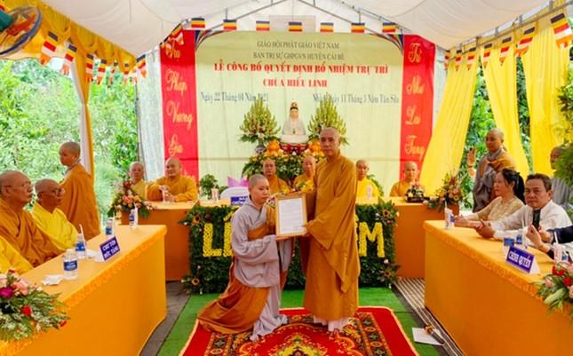 Tiền Giang: Trao quyết định bổ nhiệm trụ trì chùa Hiếu Linh ảnh 1