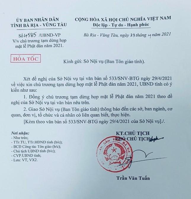 Bà Rịa - Vũng Tàu: Tạm dừng họp mặt chức sắc tôn giáo trước thềm Đại lễ Phật đản ảnh 1