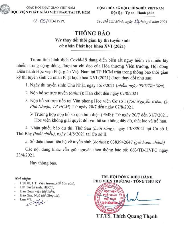 Học viện Phật giáo VN tại TP.HCM thay đổi thời gian tuyển sinh cử nhân Phật học khóa XVI ảnh 1