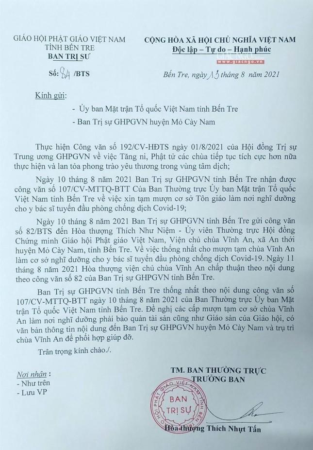 Bến Tre: Cho mượn tạm chùa Vĩnh An làm nơi nghỉ của y bác sĩ tuyến đầu điều trị Covid-19 ảnh 3