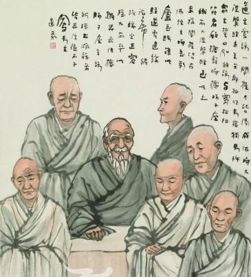 conew_吕凤子(1886—1959)竺道生说法图 纸本立轴 116×82cm.jpg