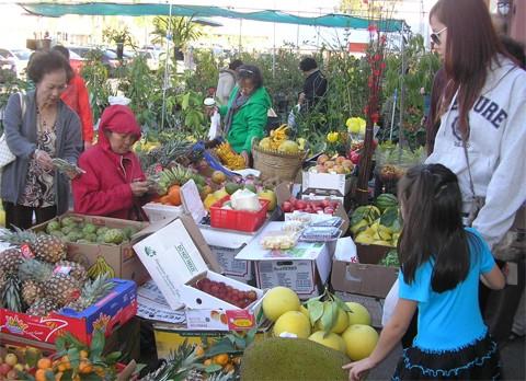 Trong chợ, hoa quả được bày bán cũng như ở Việt Nam, cũng đủ chuối, dứa, phật thủ, chôm chôm...