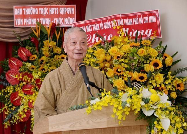 Trưởng lão HT.Thích Trí Quảng phát biểu trong lễ kỷ niệm ngày thành lập Báo Giác Ngộ - Ảnh: Bảo Toàn