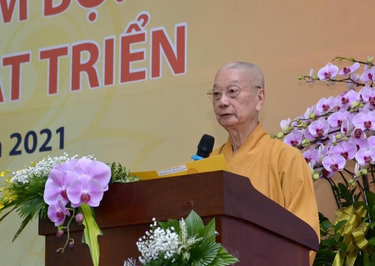 Trưởng lão Hòa thượng Thích Trí Quảng phát biểu khai mạc