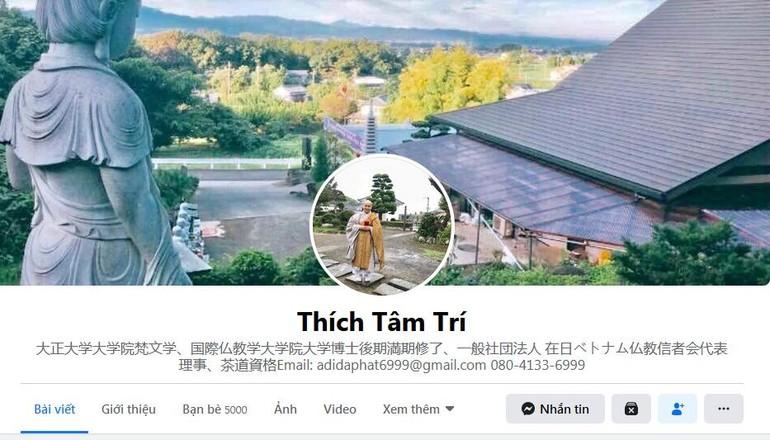 Trang facebook chính thức của Sư cô Thích Tâm Trí, Hội trưởng Hội Phật tử Việt Nam tại Nhật Bản