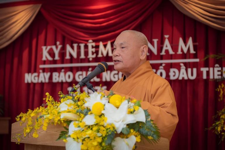 Hòa thượng Thích Thiện Nhơn tại lễ kỷ niệm 45 năm ngày Báo Giác Ngộ ra số đầu tiên - Ảnh: Đăng Huy
