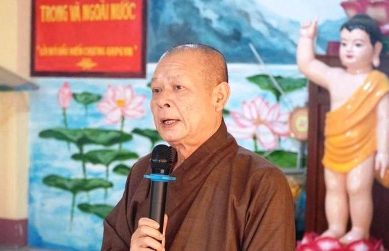 Hòa thượng Thích Nhật Ấn phát biểu chỉ đạo tại một phiên họp của Ban Trị sự GHPGVN quận Bình Tân - Ảnh: Báo Giác Ngộ