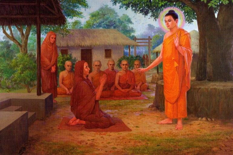 Đức Phật dạy nữ Tôn giả Maha Pajapati Gotamì - Tranh Phật giáo nước ngoài