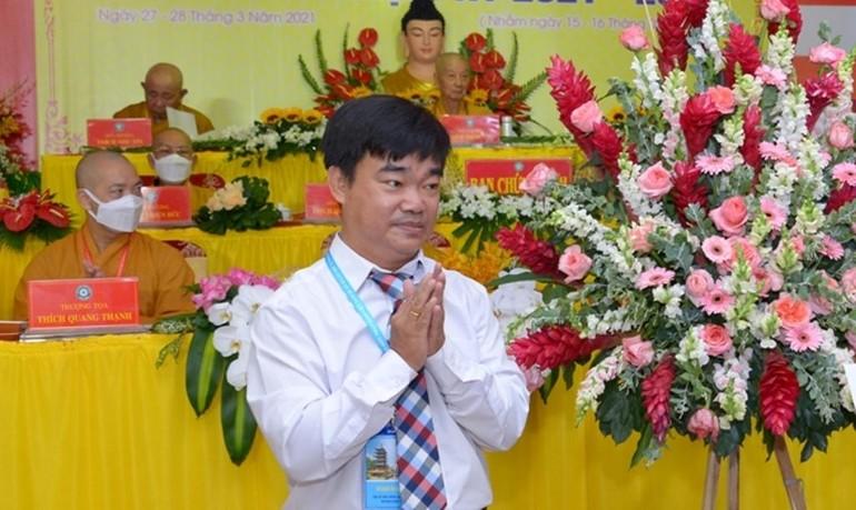 Ông Nguyễn Văn Lượng tại Đại hội đại biểu Phật giáo quận 10, TP.HCM - Ảnh: Bảo Toàn