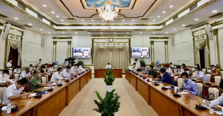 Phiên họp của Ban Chỉ đạo phòng chống dịch Covid-19 TP.HCM sáng 21-5 (Ảnh: Thanh Mai)