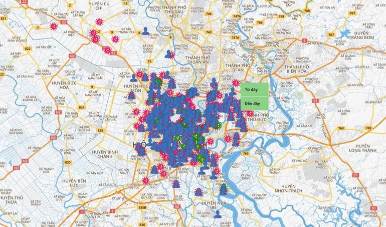 Bản đồ tình hình dịch Covid-19 tại TP.HCM được cập nhật liên tục
