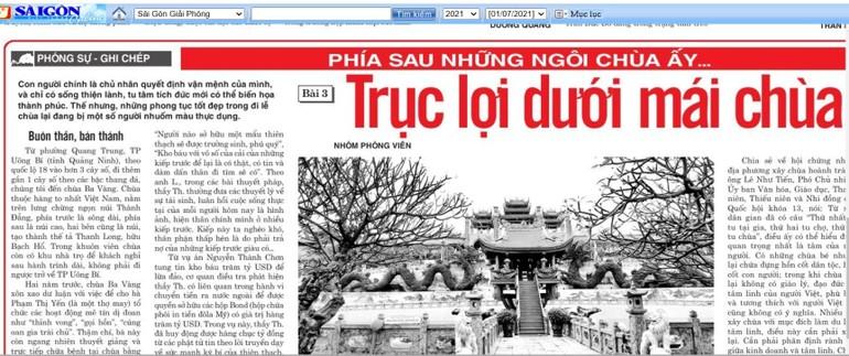 """Nhiều ý kiến về loạt bài """"Phía sau những ngôi chùa ấy..."""" của báo Sài Gòn Giải Phóng"""