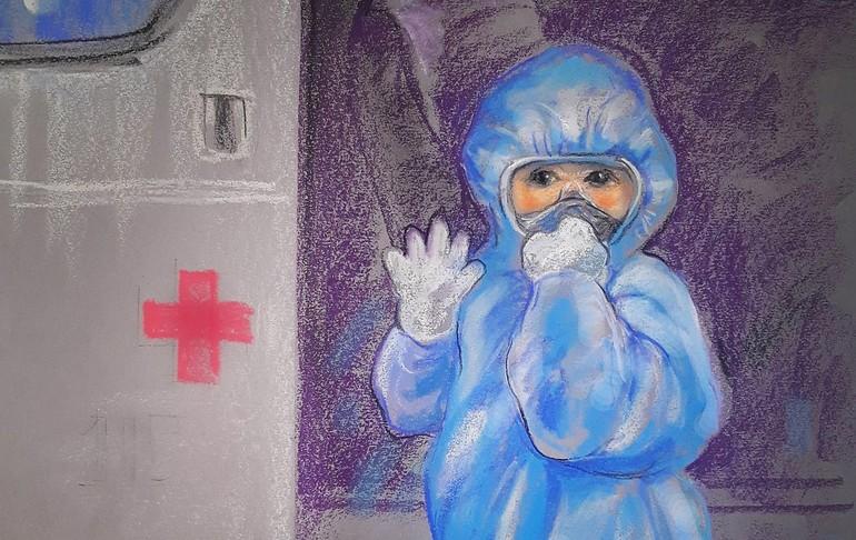 """Hình ảnh của cháu bé 5 tuổi không may nhiễm SARS CoV-2 hồn nhiên và mạnh mẽ mang lại tinh thần mới với thông điệp """"Đừng quá lo âu, sợ hãi"""" (trích ký họa của Lê Sa Long)"""