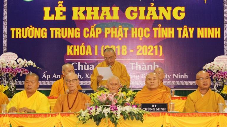 Trường Trung cấp Phật học tỉnh Tây Ninh khai giảng khóa I vào năm 2018