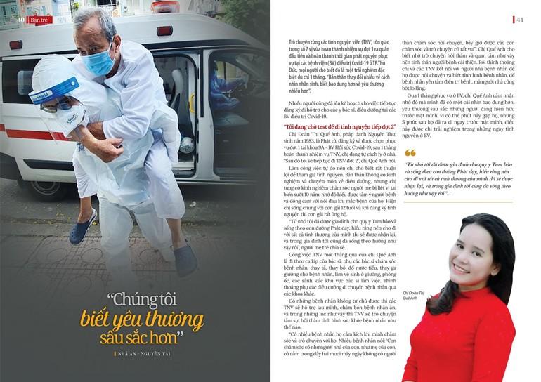 Tình nguyện viên chăm sóc bệnh nhân tại Bệnh viện Hồi sức Covid-19