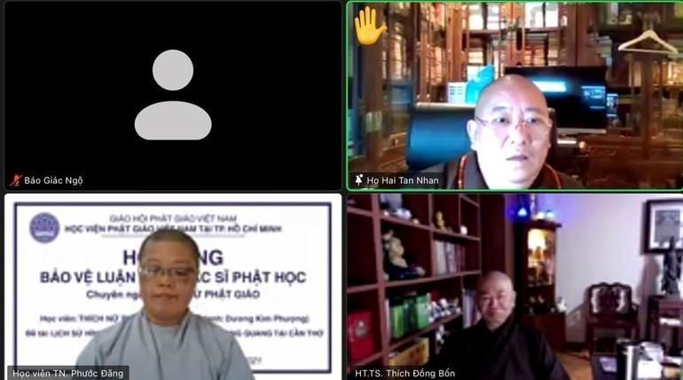 Lần đầu tiên Phòng Sau đại học thuộc Học viện Phật giáo VN tại TP.HCM tổ chức bảo vệ luận văn bằng hình thức trực tuyến - Ảnh chụp màn hình
