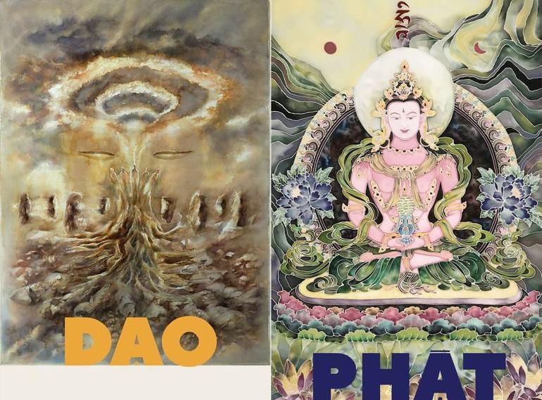 Hai bức tranh chủ đề của triển lãm - Ảnh: T.Linh
