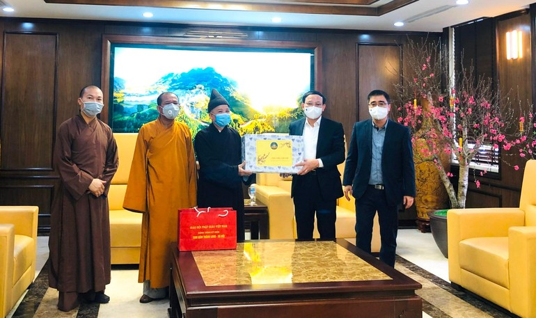 Ban Trị sự thăm và chúc tết tại cơ quan Tỉnh ủy - Ảnh: TĐH