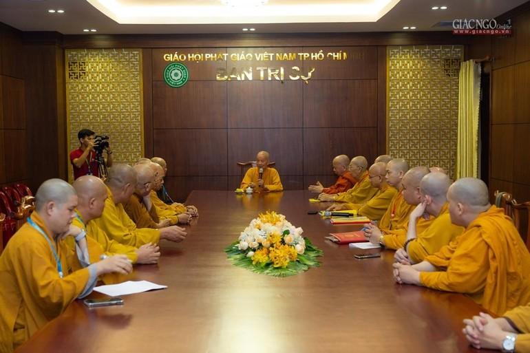 Buổi họp thảo luận, thống nhất đề án nhân sự Ban Trị sự Phật giáo Thành phố Thủ Đức - Ảnh: Anh Quốc