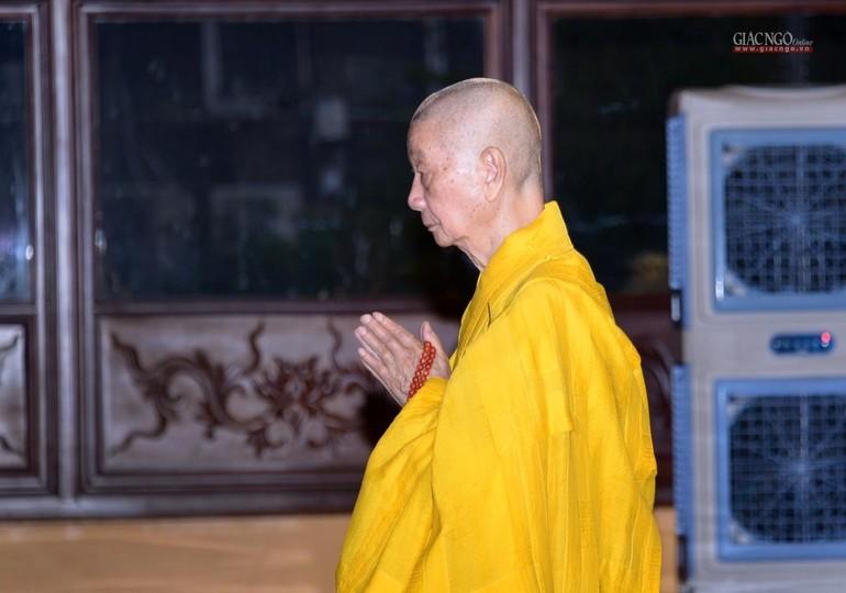 Trưởng lão Hòa thượng Phó Pháp chủ kiêm Giám luật Hội đồng Chứng minh đảnh lễ Tam bảo tại chánh điện Việt Nam Quốc Tự