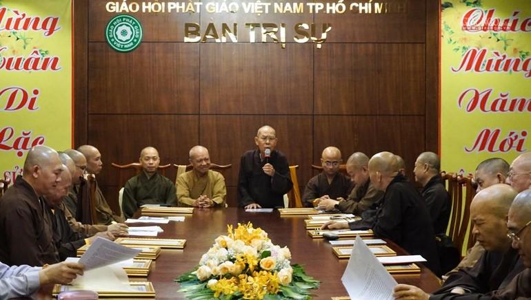 Hòa thượng Thích Thiện Đức phát biểu khai mạc buổi tổng kết của Ban Kiểm soát GHPGVN TP.HCM