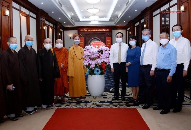 Trưởng lão HT.Thích Trí Quảng chúc Tết lãnh đạo Thành ủy và các Sở, ban, ngành TP.HCM