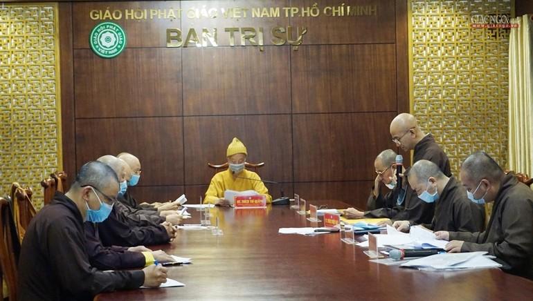 Chư tôn đức Ban Chỉ đạo Đại hội cấp quận huyện - TP.HCM họp thảo luận về nhân sự chuẩn bị cho Đại hội