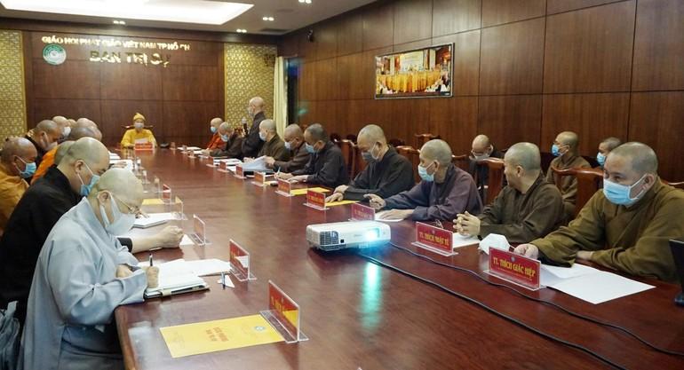 Chư tôn đức Ban Thường trực Ban Trị sự Phật giáo TP.HCM họp, thảo luận các Phật sự hướng đến kỷ niệm 40 năm ngày thành lập GHPGVN