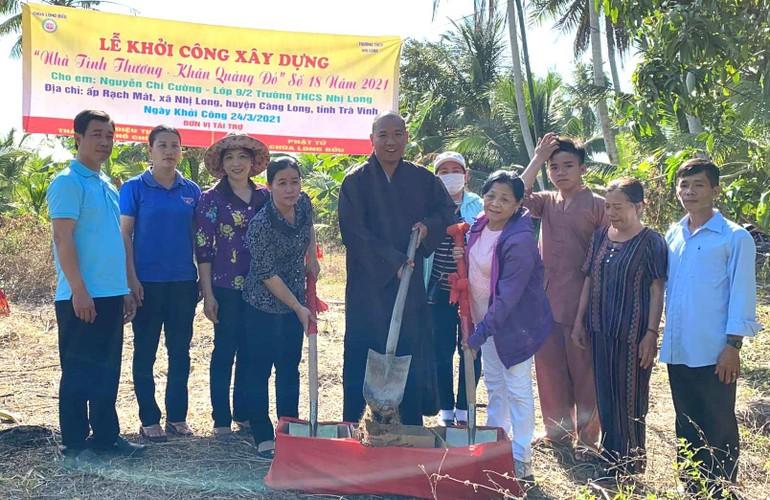 """Căn nhà """"Khăn hoàng đỏ"""" dành cho học sinh nghèo được Phật tử Diệu Tịnh tài trợ sẽ hoàn thiện trong thời gian tới"""