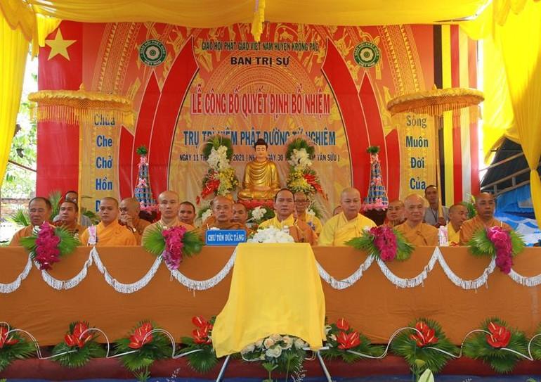 Ban Trị sự GHPGVN huyện Krông Pắc tổ chức lễ công bố quyết định bổ nhiệm niệm Phật đường Từ Nghiêm