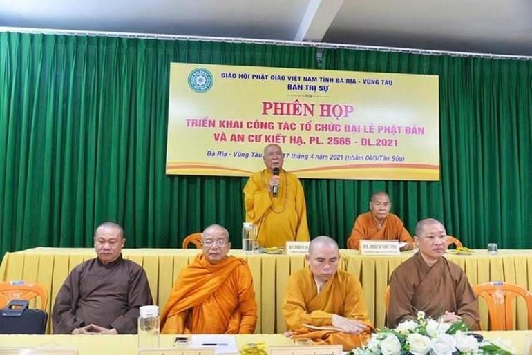 Ban Trị sự GHPGVN tỉnh Bà Rịa - Vũng Tàu triển khai công tác tổ chức Đại lễ Phật đản và An cư kiết hạ Phật lịch 2565