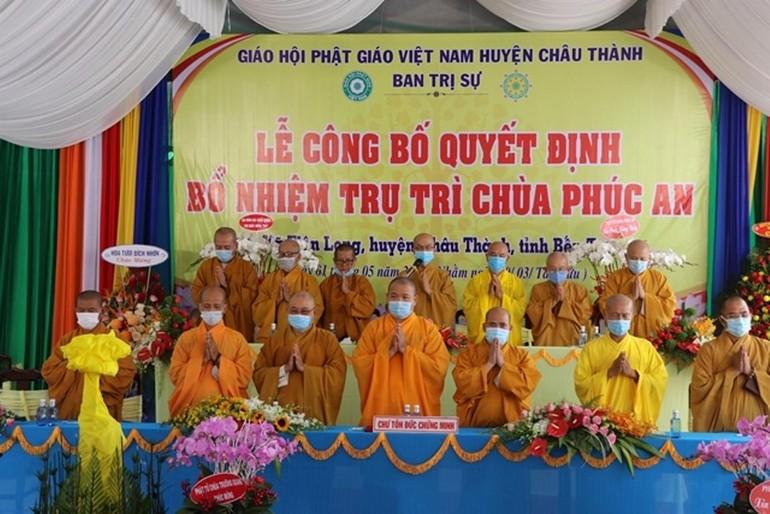 Chư tôn đức chứng minh lễ công bố quyết định trụ trì chùa Phúc An