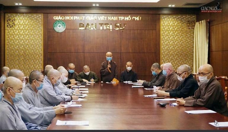 Ban Thư ký Ban Trị sự GHPGVN TP.HCM họp cùng Ban Văn hóa, các ban chuyên môn và Thường trực Ban Trị sự 24 quận huyện
