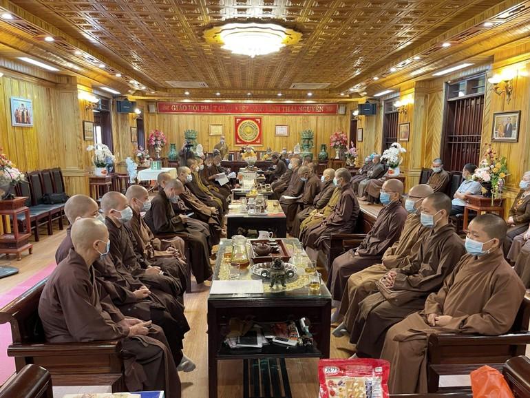 Buổi họp thường kỳ của Ban Trị sự Phật giáo tỉnh Thái Nguyên tại chùa Phù Liễn
