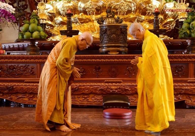 Hòa thượng Thích Trí Quảng, Hòa thượng Thích Như Niệm đối thú an cư Phật lịch 2564 (2020) tại Việt Nam Quốc Tự - Ảnh: Bảo Toàn