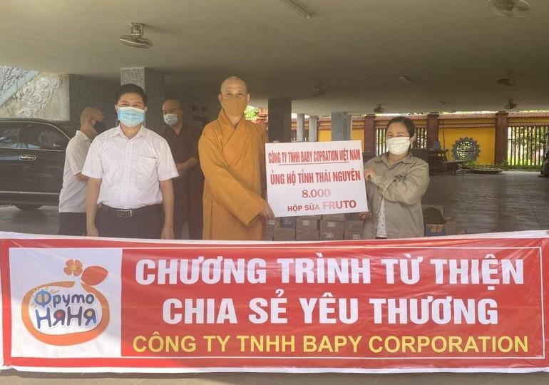 Ban Trị sự Phật giáo tỉnh Thái Nguyên trao quà đến khu vực cách ly, y bác sĩ tuyến đầu