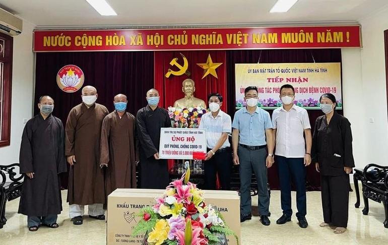 Ban Trị sự GHPGVN tỉnh Hà Tĩnh ủng hộ 70 triệu đồng cùng 5 nghìn khẩu trang phục vụ phòng Covid-19