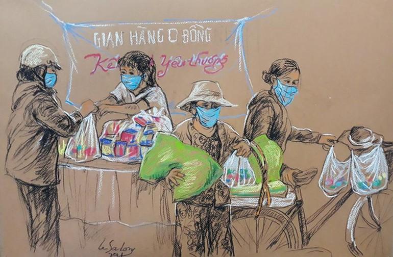 Tranh ký họa của Lê Sa Long