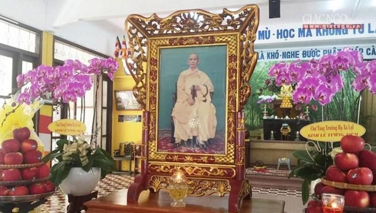 Lễ tưởng niệm nội bộ Đại lão Hòa thượng Thích Thiện Hào, tại chùa Xá Lợi sáng 24-7 - Ảnh: T.P.T