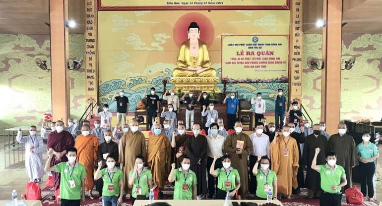 64 Tăng Ni, Phật tử tỉnh Đồng Nai xuất phát đợt 2 tình nguyện chống dịch Covid-19